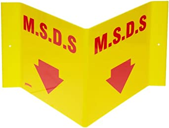 "Brady 49419 14-1/2"" Width x 8"" Height x 6"" Depth Red on Yellow MSDS ""V"" Sign, Legend "" M.S.D.S."" with Down Arrow"