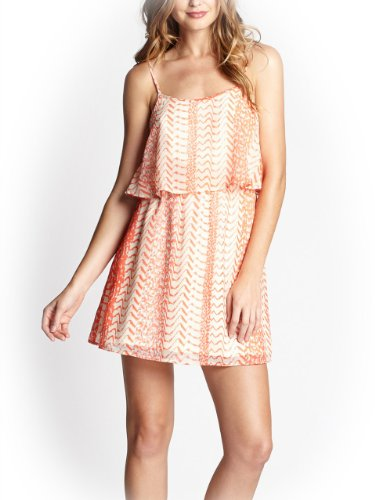 G by GUESS Women's Elliana Tiered Slipdress, CORAL PUNCH MULTI (LARGE)