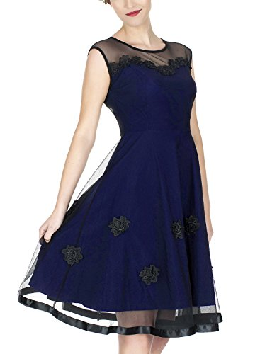 Miusol Women's Elegant Illusion Floral Lace Cap Sleeve Bridesmaid Prom Dress (3X-Large, Navy Blue)