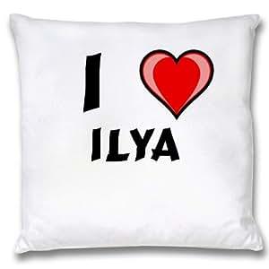 Amazon.com: White Cushion Cover with I Love Ilya (first ...