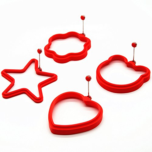 4pc Non-Stick Fun Shaped Silicone Fried Egg Mold and Pancake Mold
