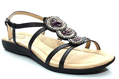 Earth spirit womens flat beaded gem comfort summer sandals size uk 3 4