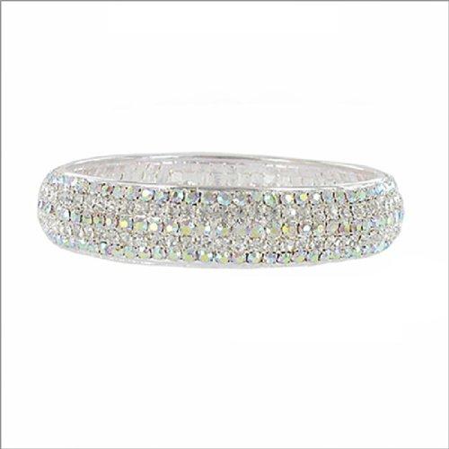 Two Tone Rhinestone Bangle Bracelet #038903