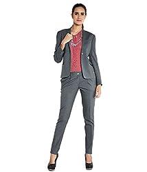 Park Avenue Women's Blouson Jacket (PWJS00284-G7_Dark Grey_L)