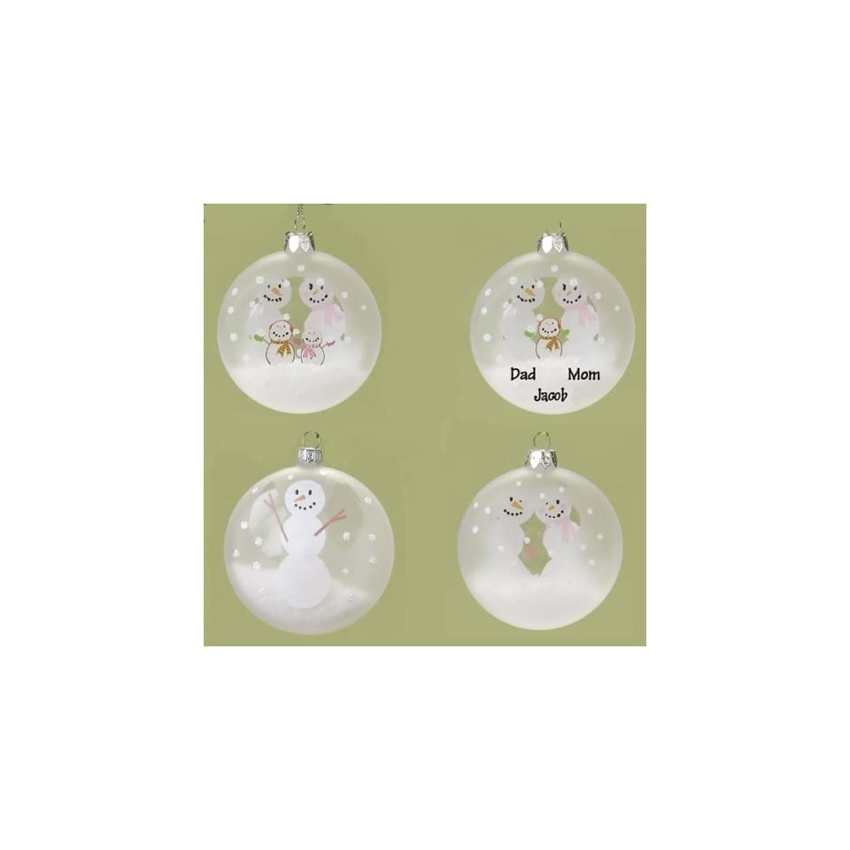 Club Pack of 48 Snowman Glass Christmas Ornaments to Personalize