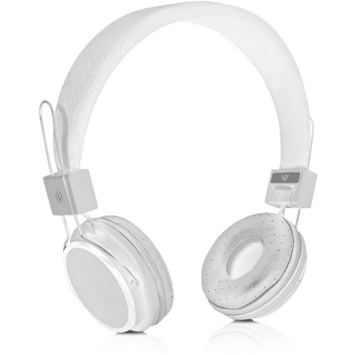 V7 Lightweight Stereo Headset With Adjustable Headband And Microphone - Retail Packaging - White