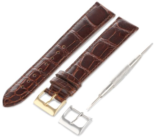Artisan of Italy AITPD400-1418ML Men's Dress Padded Alligator 18mm Cognac Long Watch Strap