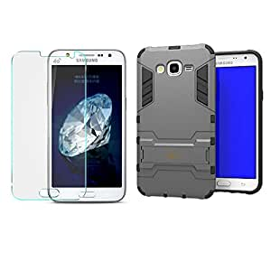 Heartly Graphic Designed Kick Stand Hard Dual Rugged Armor Bumper Back Case With Protective 2.5D 0.3mm Pro Tempered Glass For Samsung Galaxy J7 SM-J700F 2015 - Metal Grey