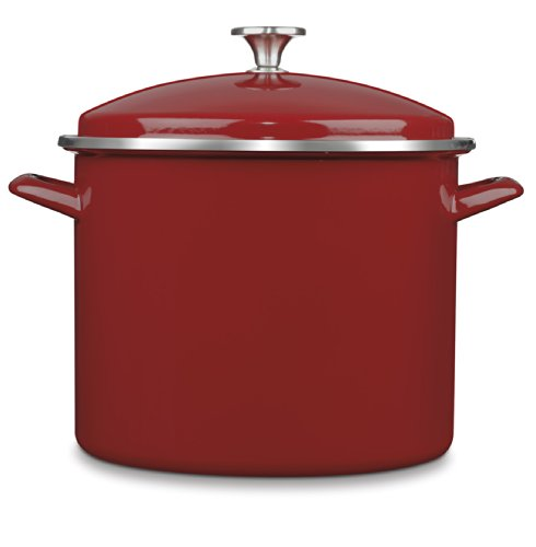 Cuisinart EOS126-28R Chef's Classic Enamel on Steel Stockpot with Cover, 12-Quart, Red
