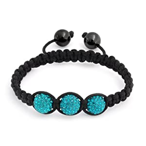 Bling Jewelry Childrens Bracelet Shamballa Inspired Turquoise Color Blue Crystal Beads 10mm