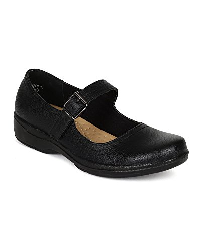 Refresh CK36 Women Textured Leatherette Mary Jane Velcro Buckle Work Loafer Flat - Black (Size: 7.5)