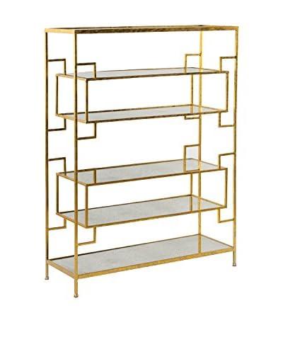LUXURY GLAM Hogar Estanteria 94X33X125 Metal Oro/Espejo Envejecido Oro, Espejo Envejecido