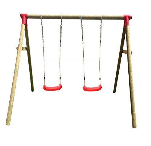 Spilli Outdoor World Altalena doppia 'Chestnut' sedili rossi giunti rossi