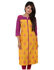 ESTYLe Yellow And Magenta Cotton Printed Kurta From ESTYLe