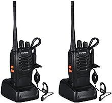 LESHP Walkie Talkie (UHF 400-470 MHz, 128 canales, 105 CDCSS, alcance de hasta 6 km ) Juego de 2