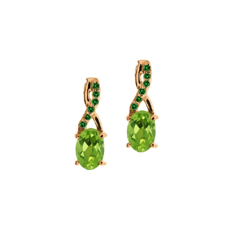 1.07 Ct Oval Green Peridot and Green Diamond 14k Rose Gold Earrings