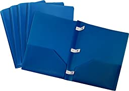 Storex Thicker Poly Two-Pocket Folder with Plastic Prongs, Blue, 5-Pack (50320U01C)