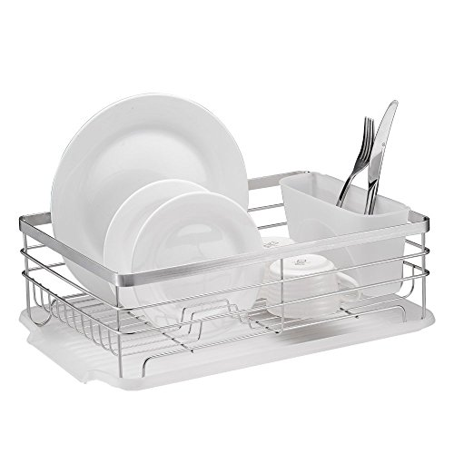 Stylish Sturdy Stainless Steel Metal Wire Medium Dish Drainer Drying Rack (Stainless Steel, Chrome) (Stainless Dish Drying Rack compare prices)