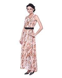 VeaKupia Women's Asymmetric Regular Fit Dress (Beige, 36)