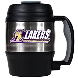 NBA Los Angeles Lakers 52-Ounce Stainless Steel Macho Travel Mug with Bottle Opener by Great American Products
