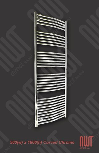 500 x 1600 Heated Towel Rail / Radiator / Warmer - Curved Chrome