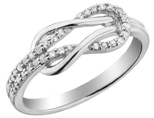 Diamond Love Knot Promise Ring 1/10 Carat (ctw) in Sterling Silver, Size 7.5
