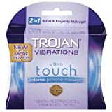 Trojan Vibrations Ultra Touch 2 in 1 Fingertip Massager and One Premium Latex Condom