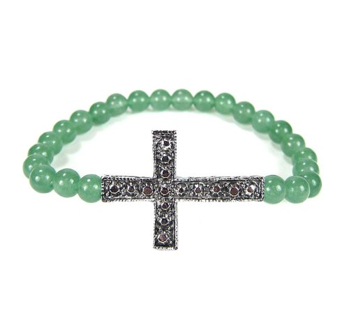 Cross Bracelet Side Ways Silver with Green Jasper Beads Stretch