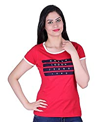 Kally Women's Cotton Printed Regular Fit Top (TP7400, Red, XX-Large)