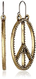 Lucky Brand Pave Peace Easy Lock Gold Hoop Earrings