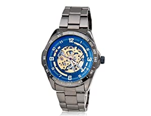 SH Men's Luminous Wrist Watch with Tungsten Steel Case & Band, Hollow Mechanical Movement, Round Dial M. Hot Watch