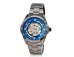 SH Men's Luminous Wrist Watch with Tungsten Steel Case & Band, Hollow Mechanical Movement, Round Dial M. Hot Watch