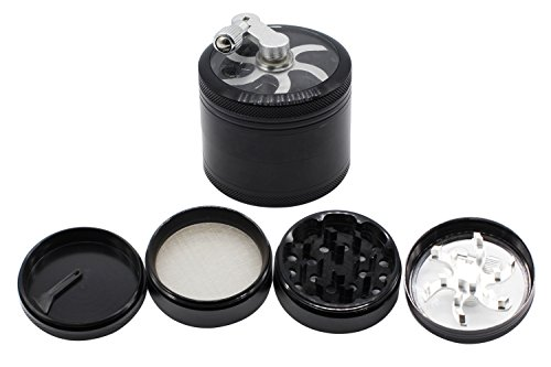 LOHOME 2.5 Inch Alloy Hand-cranked Tobacco Spice Herb Weed Pollen Plant Grinder Crusher Pollen Collector with Sifter, Magnetic Cover, 4 PCS/Set (Black) (Herb Grinder With Crank compare prices)