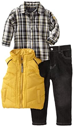 Kenneth Cole Baby-boys Infant Vest with Shirt and Jean, Yellow, 6-9 Months