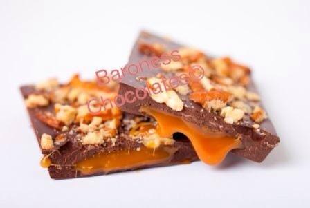 Baroness Chocolates 80 gram Salted Caramel and Pecans Chocolate Bar: Dobb Dobbs