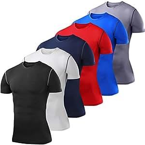 Men's Boys PowerLayer Compression Base Layer / Baselayer Top Short Sleeve Under Shirt - Black Small Boy (6-8 Years)