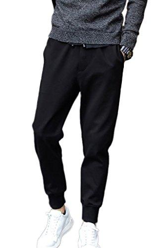 Minetom Uomo Moda Pantaloni Casual Leisure Attività Commerciale Slim Fit Pantaloni Taglia Grossa Nero EU S