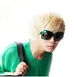 Wowlife New Style Punk Style Cool Male Straight Wig Man Short Platinum Blonde Rice White Straight Wig