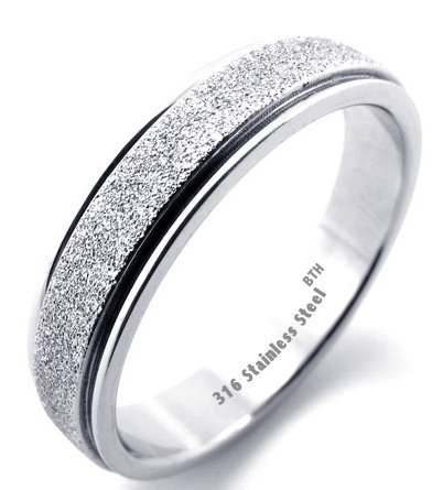 Ladies Ring - Silver Colour Sparkle Inlay Ladies Luxury Stainless Steel Wedding Engagement Band Ring -Size Z+2 - Comes In A Gift Box -