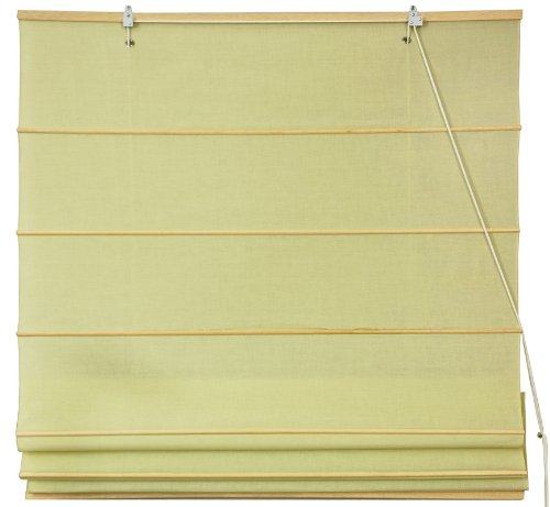Cotton Roman Window Shades - Yellow Cream 48