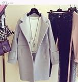 女性服 2016 秋と冬 韓国風 ファッション ルース ウールコート 女の子の長いセクシ フリーサイズ グレー 【1点】