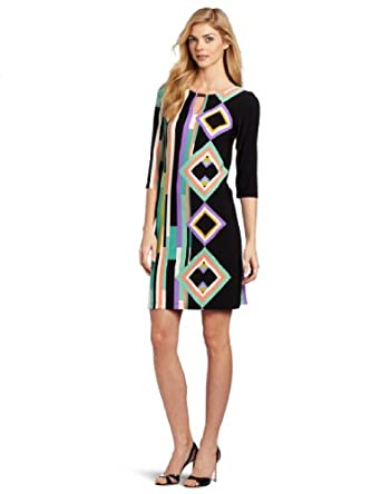 Gabby Skye Women's Printed Jersey Dress, Black/Mint, 4 Missy