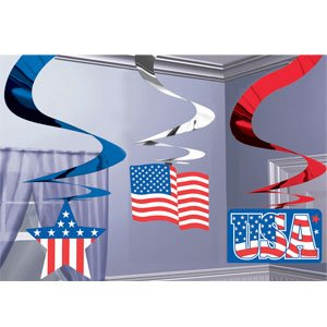 Patriotic USA 4th of July Hanging Swirl Decorations - 1