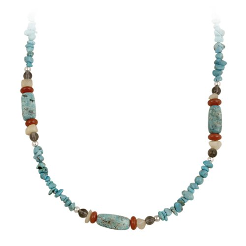 Sterling Silver Turquoise Chip and Multi-Gemstone Necklace, 30