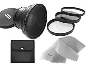 Leica D-LUX 5 0.43X High Definition Super Wide Angle Lens w/ Macro (Includes Necessary Lens Adapter) + 52mm 3 Piece Filter Kit + Nwv Direct Micro Fiber Cleaning Cloth