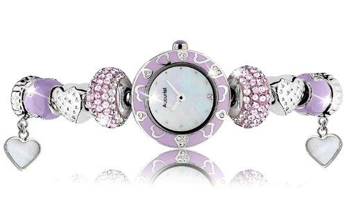Charmed by Accurist Sweet Lavender Women's Quartz Watch with Mother of Pearl Dial Analogue Display and Silver Bracelet LB1465L