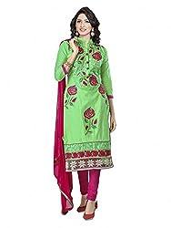 SR Women's Cotton Unstitched Dress Material (green top rani bottom duptta)
