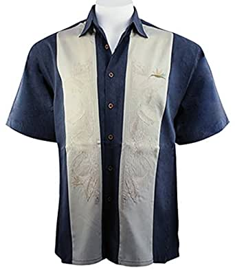 Bamboo cay navy bird of paradise tropical style for Bamboo button down shirts