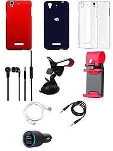 NIROSHA Cover Case Car Charger Headphone USB Cable Mobile Holder car Combo for YU Yureka Combo