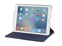 iPad Pro 9.7 Case, DEVICEWEAR Ridge - Thin Blue Vegan Leather, 6 Position Flip Stand, Magnetic On/Off Switch for Apple iPad Air 3 / iPad Pro 9.7 inch